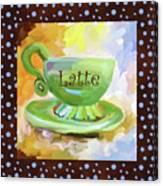 Latte Coffee Cup With Blue Dots Canvas Print
