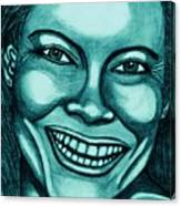 Laughing Girl In Blue 2 Canvas Print