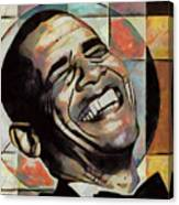 Laughing President Obama Canvas Print