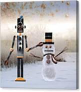 Laurence Builds A Snowman Canvas Print
