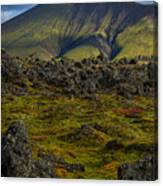 Lava Field And Mountain - Iceland Canvas Print