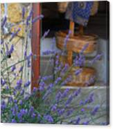 Lavender Blooming Near Stairway Canvas Print