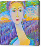 Lavender Lady Art Deco, Decorative Woman Painting, Woman Figure Print For Sale. Pretty Girl Canvas  Canvas Print
