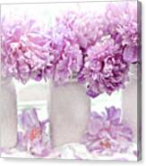 Lavender Peonies White Mason Jars - Romantic Shabby Chic Lavender Purple Peonies Mason Jars Canvas Print