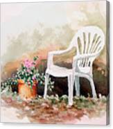 Lawn Chair With Flowers Canvas Print