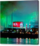 Laser Green Smoke And Reds Stadium Canvas Print