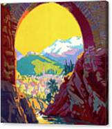 Le Ban, Pyrenees, France, Old Bridge Canvas Print