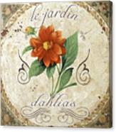 Le Jardin Dahlias Canvas Print