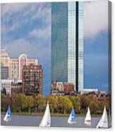 Lean Into It- Sailboats By The Hancock On The Charles River Boston Ma Canvas Print