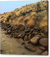 Learn To Swim, Creek Bed Quickly Filling With Water During Autumn Rainstorms In The High Desert Canvas Print