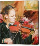 Learning The Violin Canvas Print