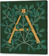 Leaves Letter A Canvas Print