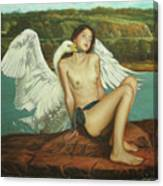 Leda And The Swan - Passionate Canvas Print