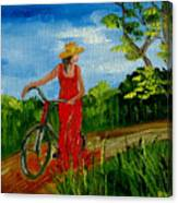 Ledy With The Bike Canvas Print