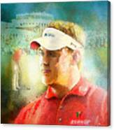 Lee Westwood Winning The Portugal Masters 2009 Canvas Print