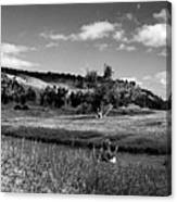 Legend Of The Bear Wyoming Devils Tower Panorama Bw Canvas Print