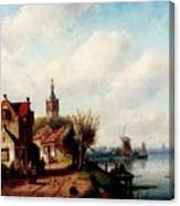Leickert Charles A Village Along A River A Town In The Distance Canvas Print