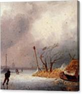 Leickert Charles A Winter Landscape With Skaters On A Frozen Waterway Canvas Print