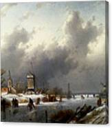 Leickert Charles Henri Joseph A Frozen Winter Landscape With Skaters Canvas Print