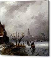 Leickert Charles Henri Joseph Figures On A Frozen Lake Canvas Print