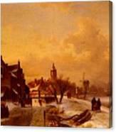 Leickert Charles Henri Joseph Winter And Summer Canal Scenes Scene  Canvas Print