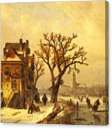 Leickert Charles Skaters In A Frozen Winter Landscape Canvas Print