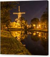 Leiden Windmill By Night Canvas Print