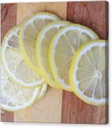 Lemon Slices On Cutting Board Canvas Print
