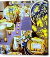 Lemons And Blue Canvas Print