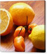 Lemons And Peppers Canvas Print