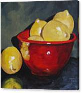 Lemons And Red Bowl IIi Canvas Print