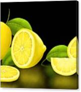 Lemons-black Canvas Print