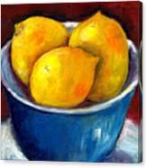 Lemons In A Blue Bowl Grace Venditti Montreal Art Canvas Print