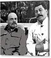 Lenin And Stalin Circa 1923 Color And Drawing Added 2016    Canvas Print