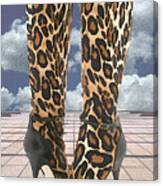 Leopard Boots With Ankle Straps Canvas Print