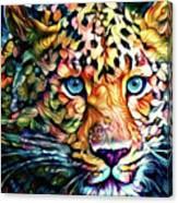 Leopard Cat Flowers Canvas Print
