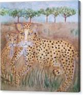 Leopard With Cub Canvas Print