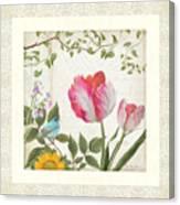 Les Magnifiques Fleurs I - Magnificent Garden Flowers Parrot Tulips N Indigo Bunting Songbird Canvas Print