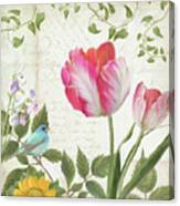 Les Magnifiques Fleurs IIi - Magnificent Garden Flowers Parrot Tulips N Indigo Bunting Songbird Canvas Print