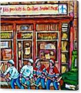 Les Scenes De Pointe St Charles Les Produits Smoked Meat Avec Partie De Hockey Canvas Print