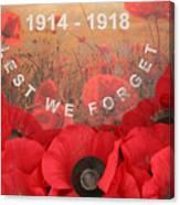 Lest We Forget - 1914-1918 Canvas Print