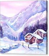 Swiss Mountain Cabins In Snow Canvas Print
