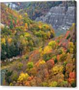 Letchworth Falls Sp Fall Colored Gorge Canvas Print