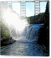 Letchworth State Park Upper Falls And Railroad Trestle Abstract Canvas Print