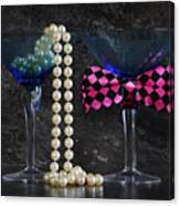 Lets Party Vintage Blue Martini Glasses On Black Sla Canvas Print