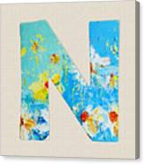 Letter N Roman Alphabet - A Floral Expression, Typography Art Canvas Print
