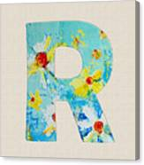 Letter R Roman Alphabet - A Floral Expression, Typography Art Canvas Print