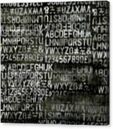 Letters And Numbers Grey On Black Canvas Print