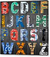 Letters Of The Alphabet Recycled Vintage License Plate Art With Apple Colorful School Nursery Kids Room Print Canvas Print