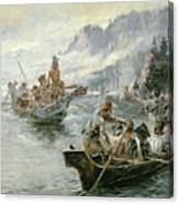 Lewis And Clark On The Lower Columbia River Canvas Print